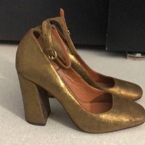 Coach genuine leather bronze ankle strap heels 7